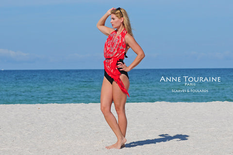 Extra large silk chiffon scarves by ANNE TOURAINE Paris™: red scarf tied over the shoulder cover-up with a belt