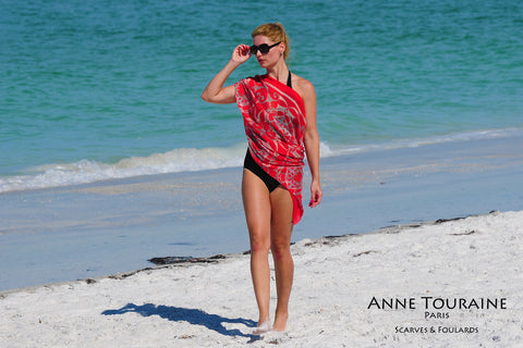 Extra large silk chiffon scarves by ANNE TOURAINE Paris™: red scarf tied as a half shoulder cover-up