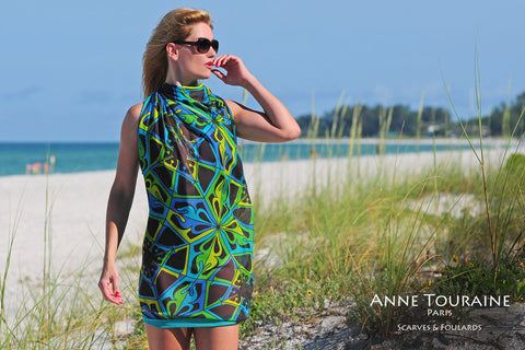 Extra large silk chiffon scarves by ANNE TOURAINE Paris™: teal and black scarf tied as a beach dress