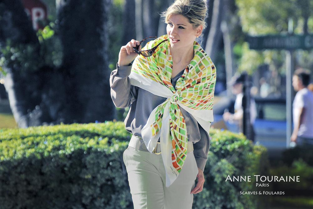 Extra large silk scarves by ANNE TOURAINE Paris™: green and brown silk satin scarf tied as a shoulder wrap