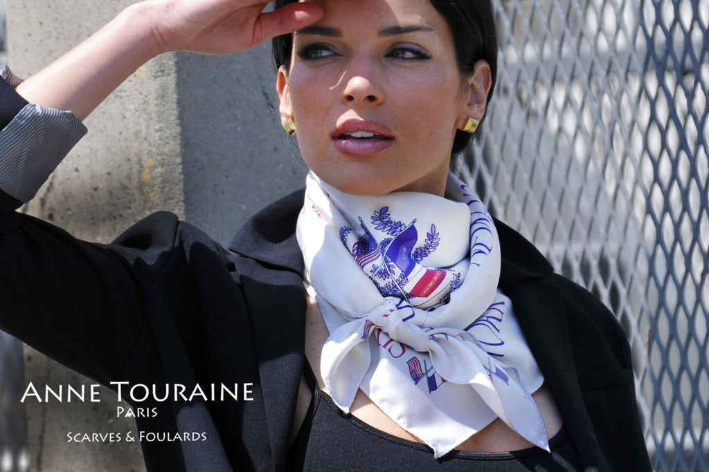 French silk scarves by ANNE TOURAINE Paris™: Paris New York white scarf tied as a fluffy neck scarf
