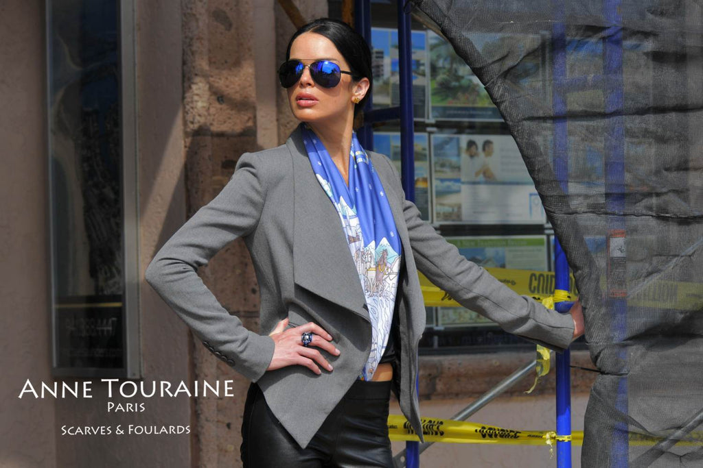 French silk scarves by ANNE TOURAINE Paris™: Russia inspired blue scarf tucked into a pair of leather pants