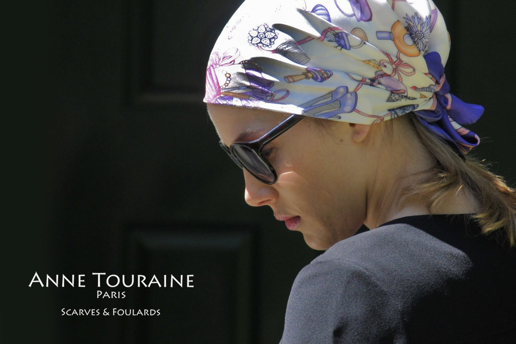 French silk scarves by ANNE TOURAINE Paris™: Blue and white Fashion Accessories scarf tied as a mini pirate headscarf