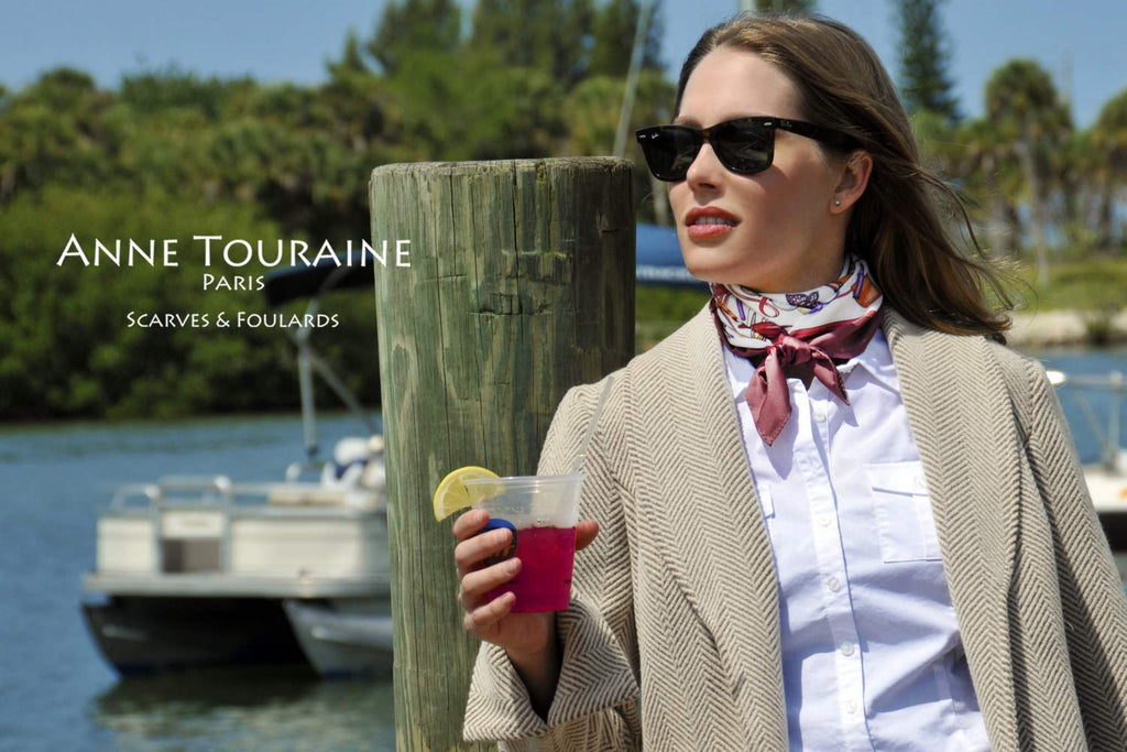 French silk scarves by ANNE TOURAINE Paris™: burgundy and white Fashion Accessory scarf as a tight neck scarf
