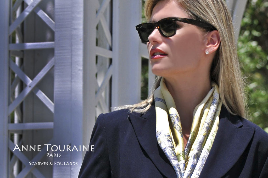 French silk scarves by ANNE TOURAINE Paris™: Paris inspired yellow scarf to accent the lapels of a coat or a jacket