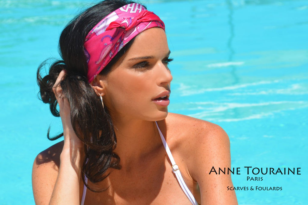 French silk scarves by ANNE TOURAINE Paris™: China inspired hot pink scarf tied as as a double headband