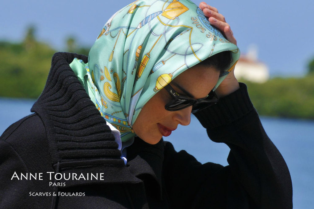 French silk scarves by ANNE TOURAINE Paris™: China inspired neon green scarf tied as a Kelly headscarf