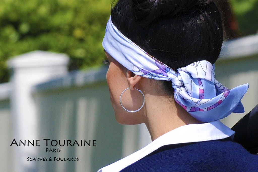 French silk scarves by ANNE TOURAINE Paris™: Russia inspired blue scarf tied as narrow headband