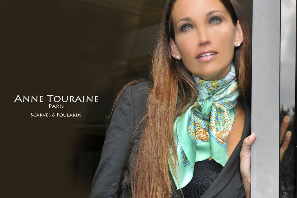 French silk scarves by ANNE TOURAINE Paris™: China inspired neon green scarf tied to the front