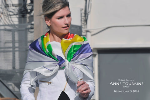 How to wear large silk scarves: Check ANNE TOURAINE Paris™ lookbook