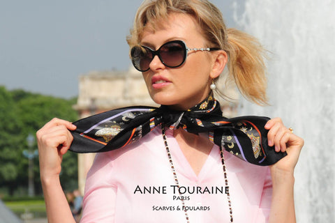 Stylish French woman with an ANNE TOURAINE Paris™ silk scarf