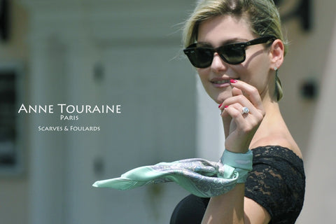 French scarves: Paris design, silk twill, green color: a French scarf created by ANNE TOURAINE Paris™; tied as a silk bracelet.