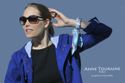 French scarves: silk twill, neon blue color: a French scarf created by ANNE TOURAINE Paris™; wrapped around a bangle
