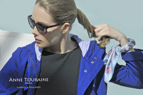 French scarves: silk twill, neon blue color: a French scarf created by ANNE TOURAINE Paris™; wrapped around a bangle (2)