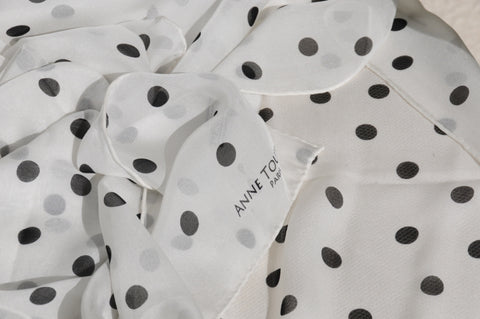 White polka dot silk scarf by ANNE TOURAINE Paris™ for July 4th