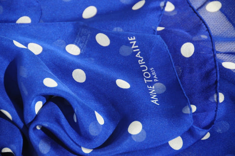 Blue polka dot silk scarf by ANNE TOURAINE Paris™ for July 4th