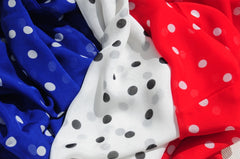 Three polka dot silk scarves by ANNE TOURAINE Paris™ to celebrate Bastille Day and July 4th