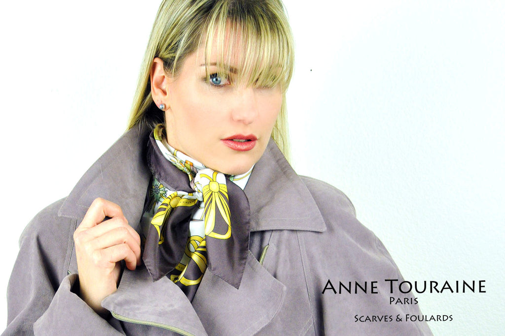 French silk scarves, Fashion Accessories design, white and brown color, by ANNE TOURAINE Paris™, tied as high neckscarf