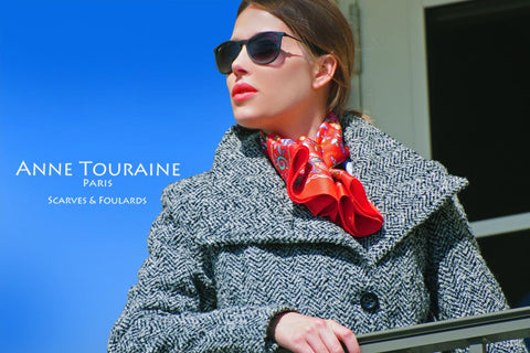 Floral silk scarf by ANNE TOURAINE Paris™, red color as a winter scarf