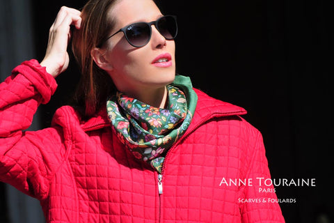 Floral silk scarf by ANNE TOURAINE Paris™, green color as a winter scarf