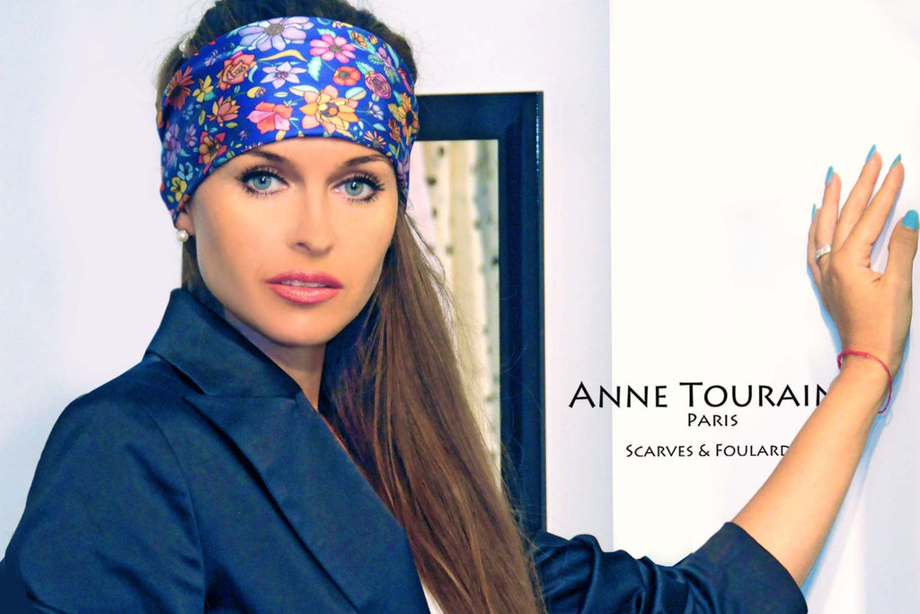 French silk scarves, Floral design in blue color, by ANNE TOURAINE Paris™, tied as a large headband