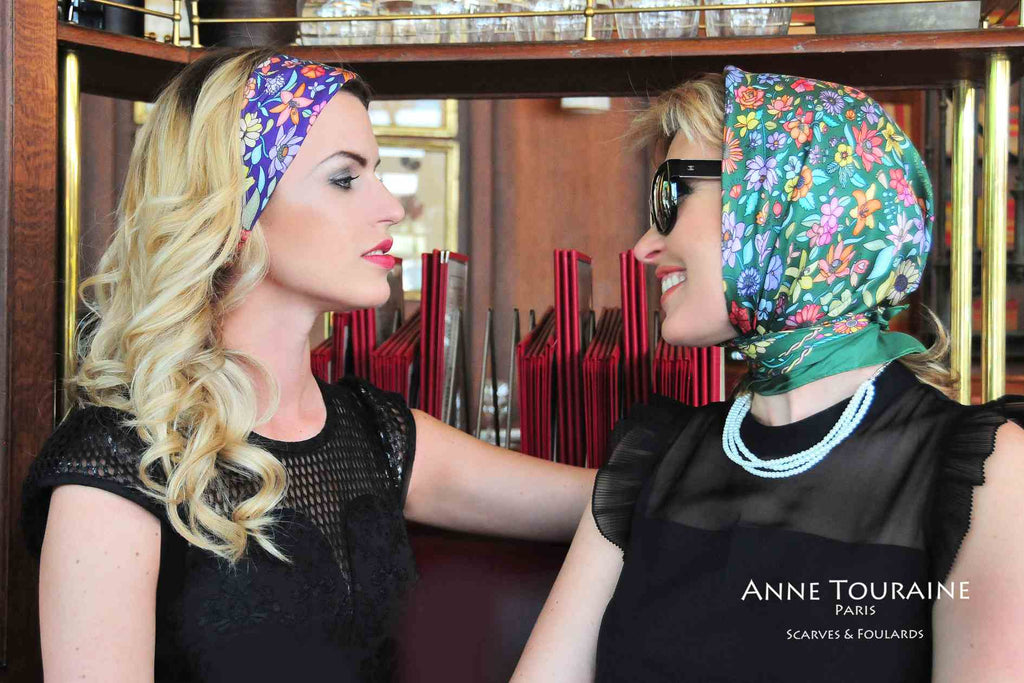 French silk scarves, Floral design in blue and green color, by ANNE TOURAINE Paris™, tied as a head scarf a la Grace Kelly and as a headband