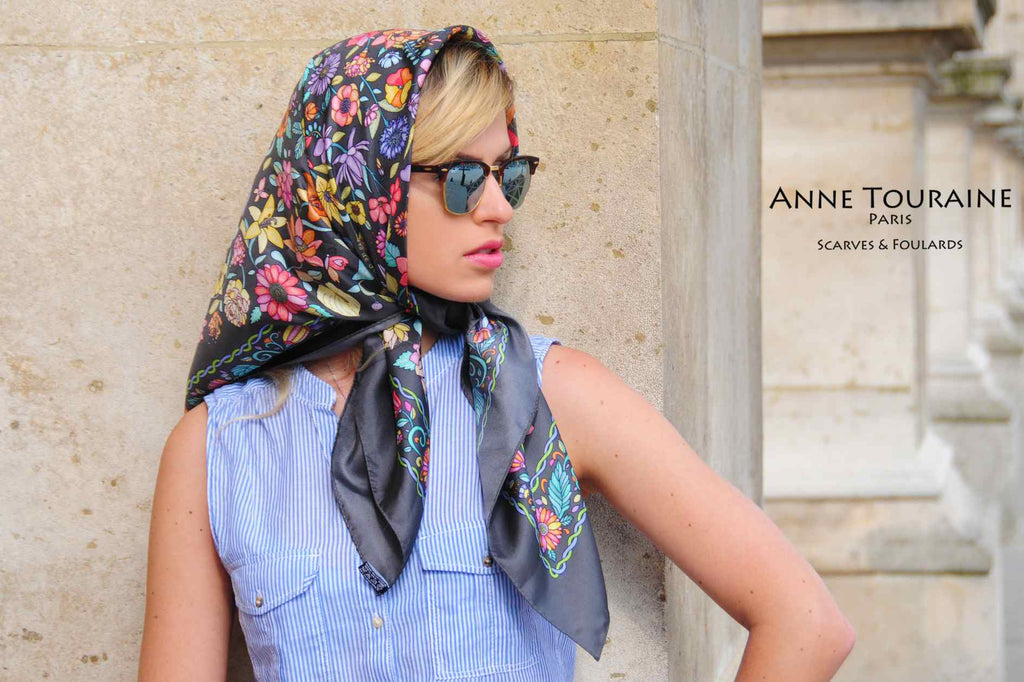 French silk scarves, Floral design in grey color, by ANNE TOURAINE Paris™, tied as a head scarf a la Jackie Kennedy
