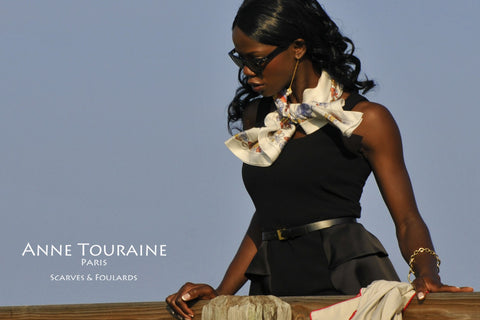 Nautical pale grey silk scarf by ANNE TOURAINE Paris™ tied loose around the neck