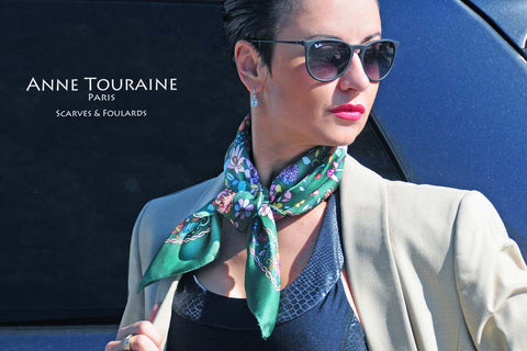Floral green silk scarf by ANNE TOURAINE Paris™ tied with a square knot