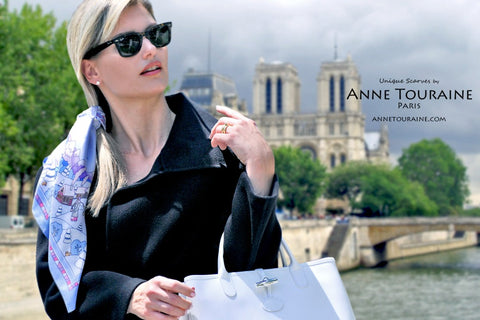 Winter inspired blue silk scarf by ANNE TOURAINE Paris™ tied around a ponytail