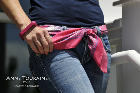 French silk scarf, Silk Road theme, vivid pink color, by ANNE TOURAINE Paris™ tied as a belt