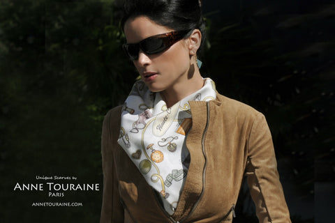 French silk scarf, white and brown, by ANNE TOURAINE Paris™ tied around the neck as a fluffy halter top