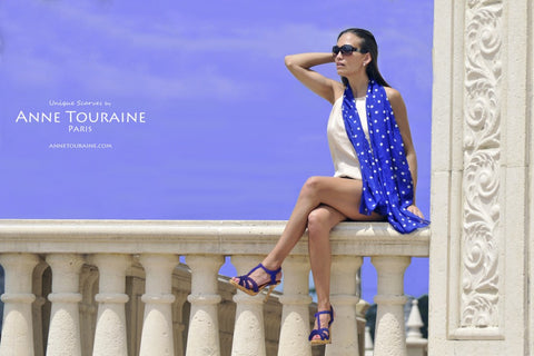 ANNE TOURAINE Paris™ silk scarves: blue polka dots; worn loose around the neck; perfect for the summer