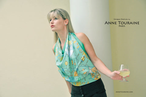 ANNE TOURAINE Paris™ French silk scarves: Silk Road inspired design; neon green color; tied as a stunning halter top