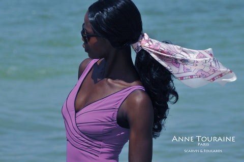 ANNE TOURAINE Paris™ French silk scarves: pink and white color; tied around a ponytail
