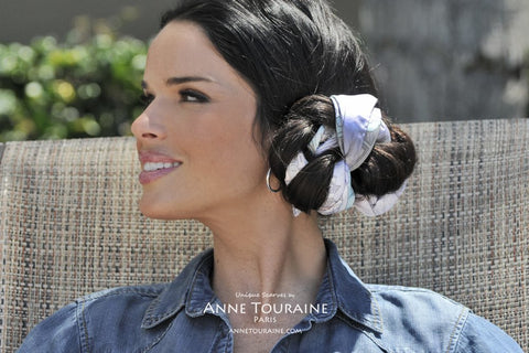 ANNE TOURAINE Paris™ French silk scarves: Paris inspired design; lavender blue color; tied around a bun