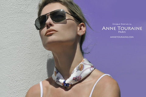 ANNE TOURAINE Paris™French silk scarves: fashion accessories design; white and blue color; tied loose with a ring around the neck.