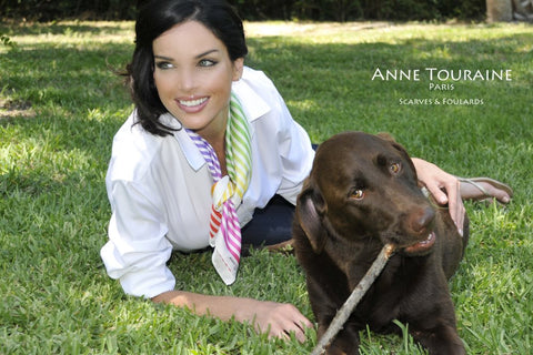 ANNE TOURAINE Paris™ French silk scarves: multicolored striped pattern; tied as a loose neckscarf