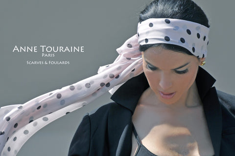 Long silk scarves: polka dot collection by ANNE TOURAINE Paris™; pink color; tied as a headband