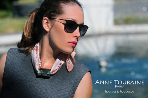 ANNE TOURAINE Paris™ French silk scarves: Russia inspired design; tied as a neck scarf with a scarf pendant