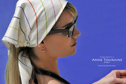 ANNE TOURAINE Paris™ French silk scarves: multicolored striped pattern; tied as a bandana headscarf