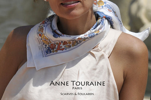 ANNE TOURAINE Paris™ French silk scarves: nautical design; white color