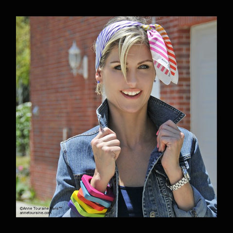 Multicolor striped scarf by ANNE TOURAINE Paris™ tied a headband