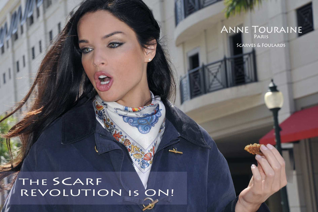French silk scarves, Nautical design in white color, by ANNE TOURAINE Paris™, tied as a neck bandana