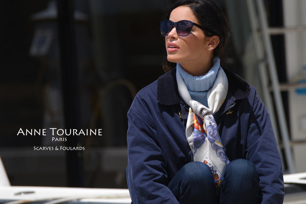 French silk scarves by ANNE TOURAINE Paris™: grey Nautical scarf tied loose around a turtleneck