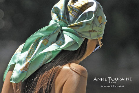 Silk scarf, green, by ANNE TOURAINE Paris™ pirate style