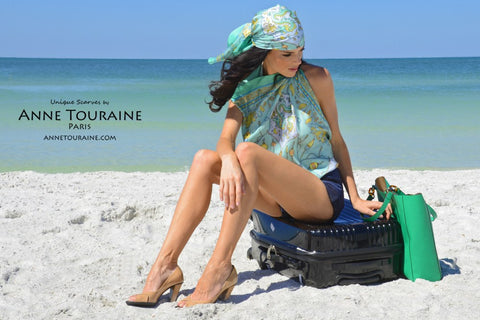 French silk scarf by ANNE TOURAINE Paris™ worn in the pirate style and as a halter top