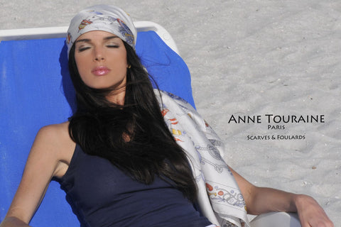 Beach wear with an ANNE TOURAINE Paris™ silk scarf as a head scarf