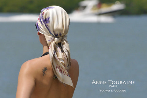 Paris New York silk twill scarf by ANNE TOURAINE Paris™ tied pirate style