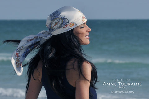 Nautical scarf, silk scarf grey by ANNE TOURAINE Paris™ over the hair to be a stylish pirate